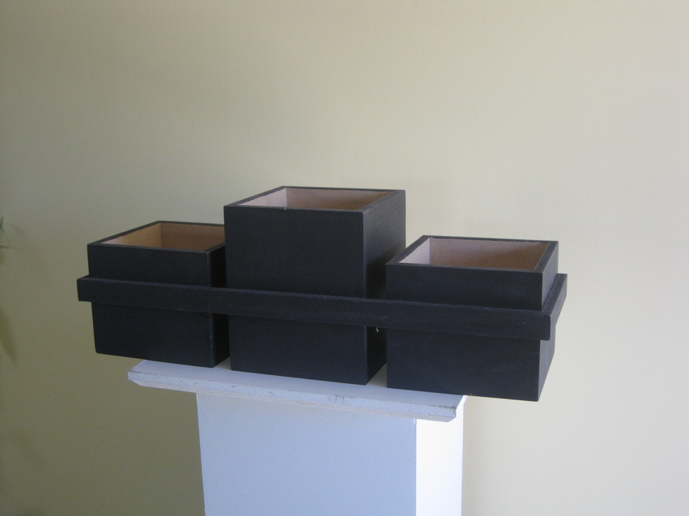 A trio of our wooden boxes for a long centerpiece, great for long rectangular tables.