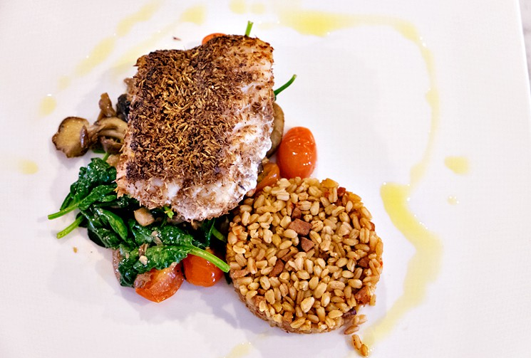One of The Durham House's most inventive dishes is the grouper filet encrusted with spent malt from Buffalo Bayou Brewing Company.  Photo by Phaedra Cook