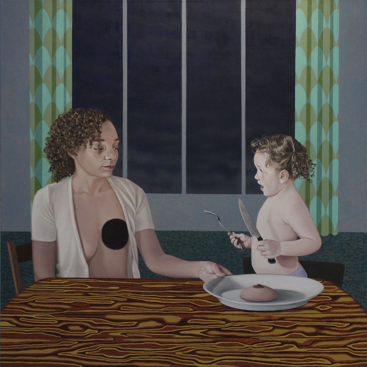 "Feeding  oil on canvas 36"" x 36"" 2014"