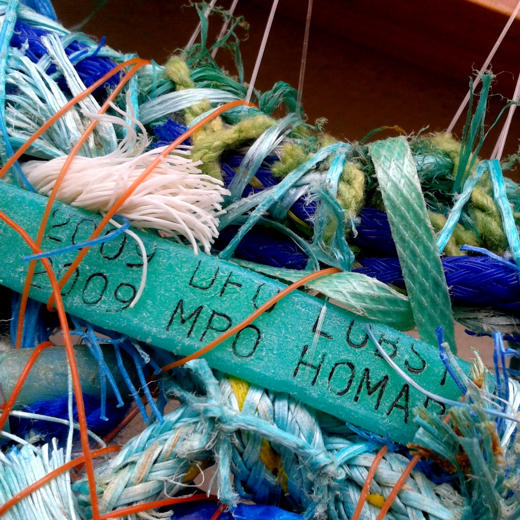 A Canadian lobster pot tag in a flotsam tapestry.