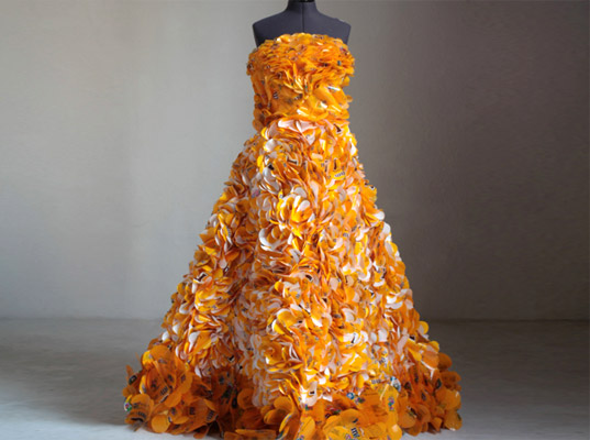 This is what a gown made of 600 peanut M & M wrappers looks like. But most Halloween trash is not this pretty. Source: Terracycle.