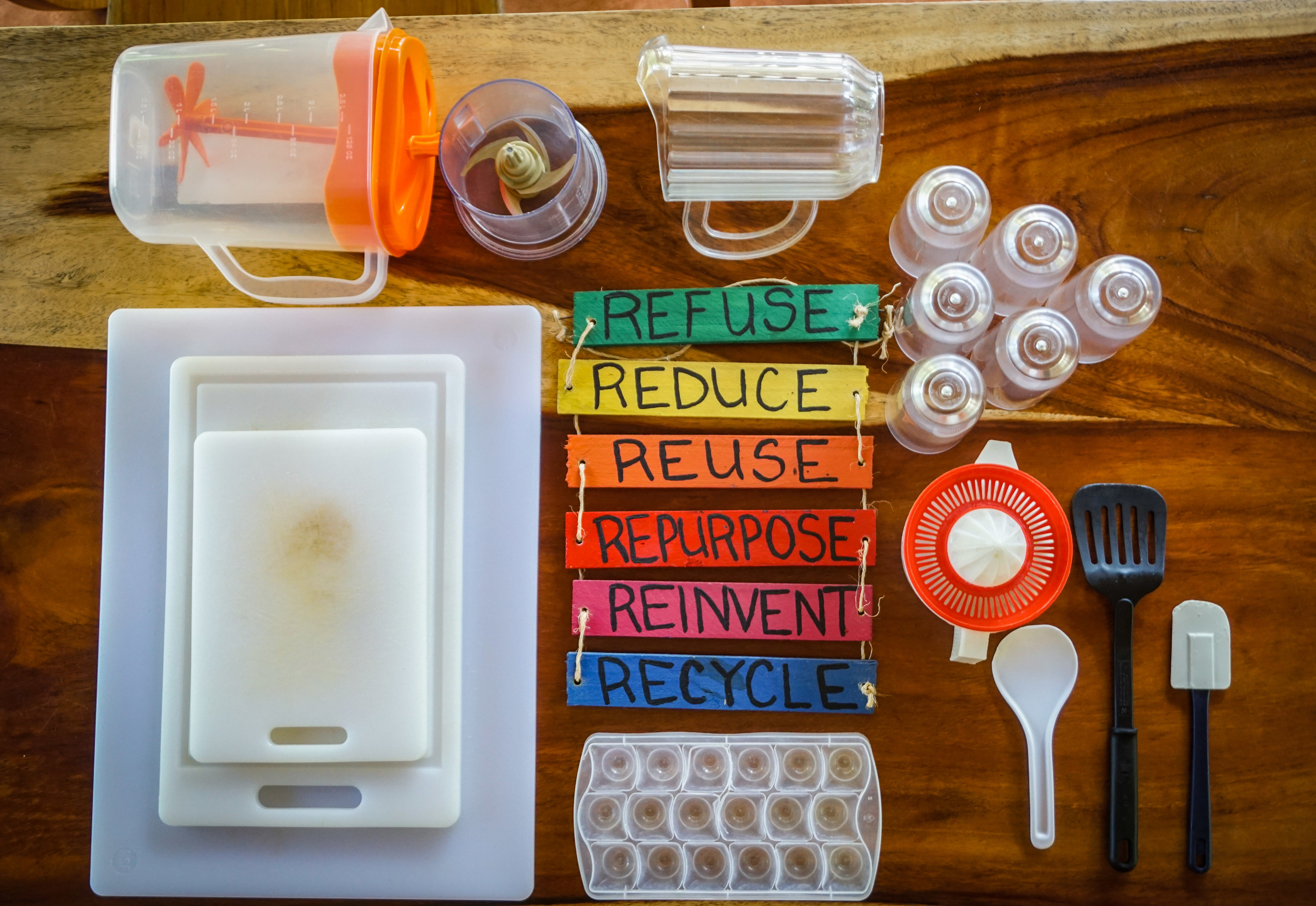 Current array of plastics (above)and the change we seek. Photos: Michael Muehlegger