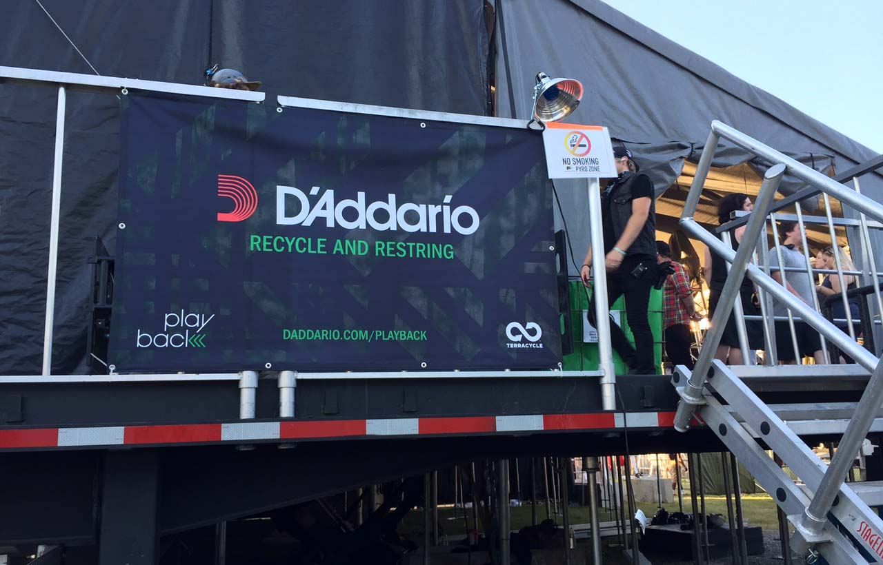 The D'Addario Recycle and Restring tent at Bonnaroo 2016.