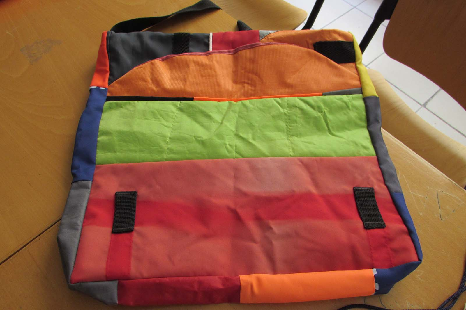 One of the Safe Passage bags, made by refugees from life ­jacket material found on Lesbos beaches.