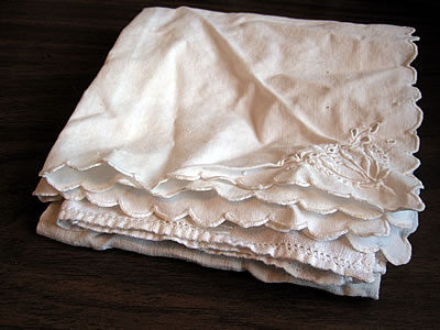 To save more money, I found several cute vintage hankies at a thrift store in my neighborhood.