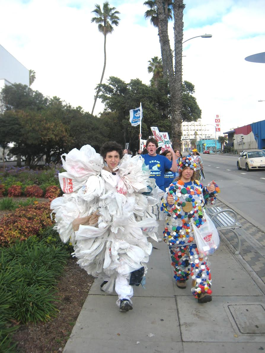Dress up as a Plastic Bag Monster with 500-700 repurposed plastic bags (the average amount one person in the U.S. uses every year).
