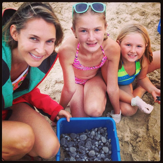 Saving baby sea turtles in Mexico with my mom Dana and sister Boo.
