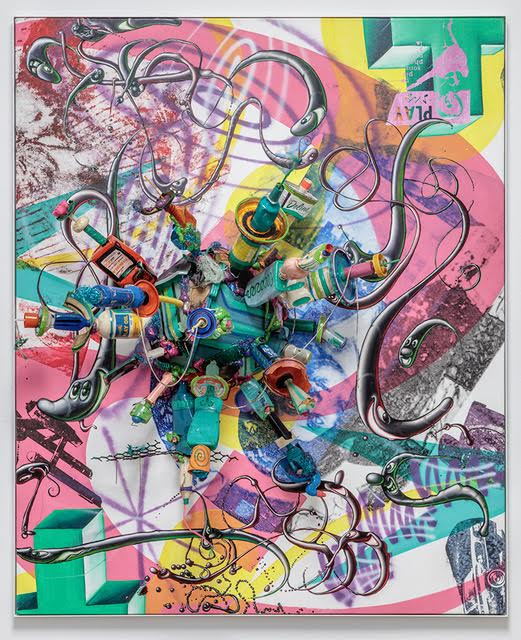 Kenny Scharf,  Untitled , 2006, Oil, acrylic, silkscreen, spraypaint and found objects on canvas with powder coated aluminum frame