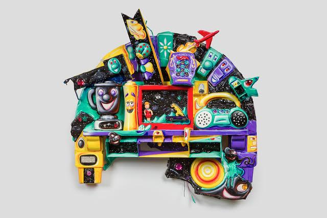 Kenny Scharf,  Supersonic Home Entertainment Communication Vortex , 2016, Mixed media assemblage