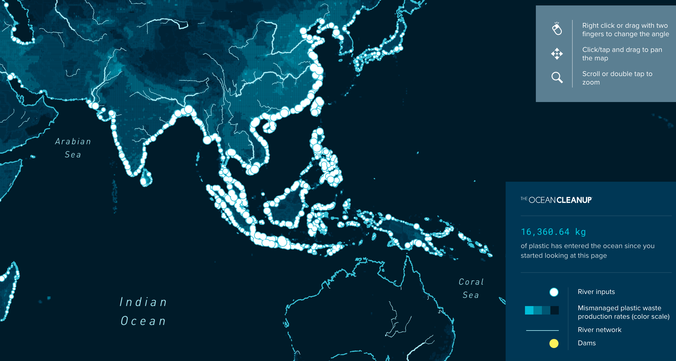 Check out the interactive map   illustrating the flo  w of plastics from rivers to the oceans.