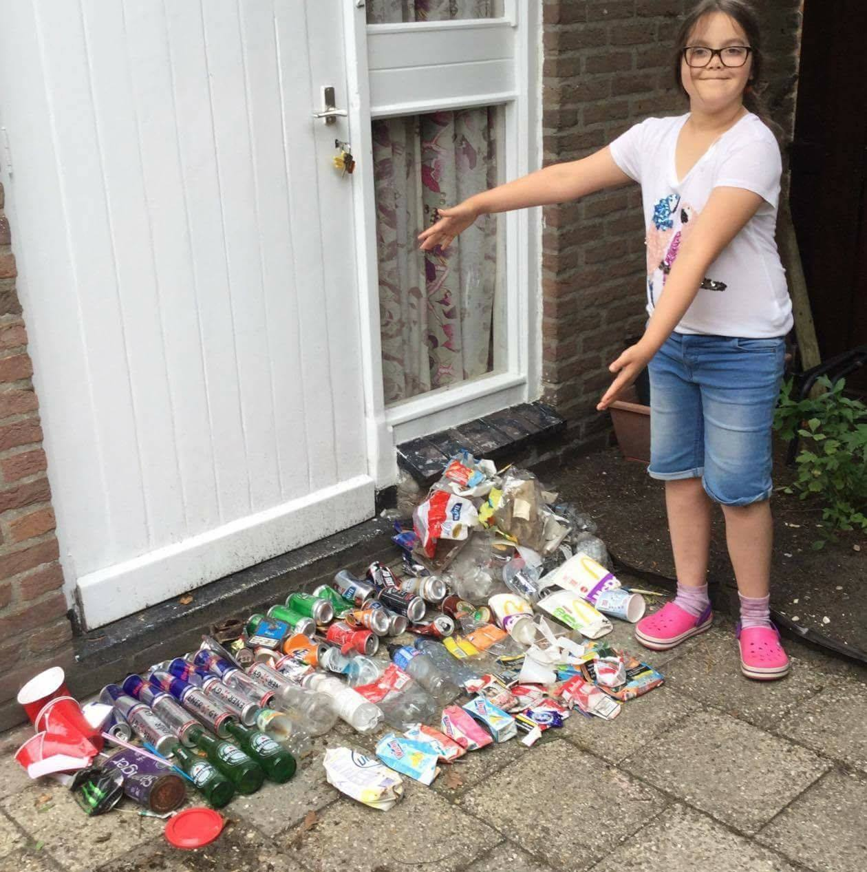 9 year old Lilly shows off her collection from a recent cleanup.