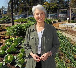- Sister Mary Ellen Leciejewski, Director of Ecology, in the 9,000-sq. ft. organic garden on the Dominican Hospital grounds.