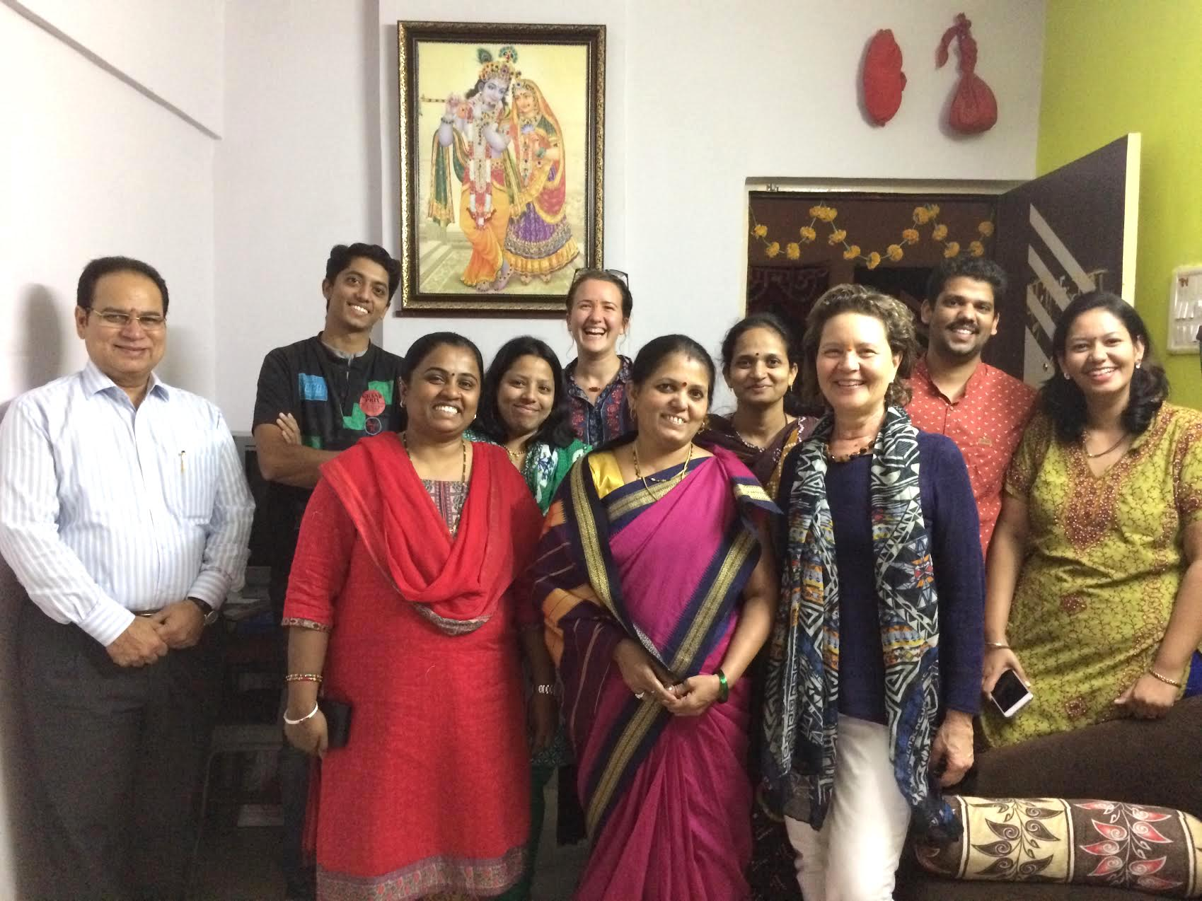CEO Sharon Rowe (front, right) with her manufacturing team in India.