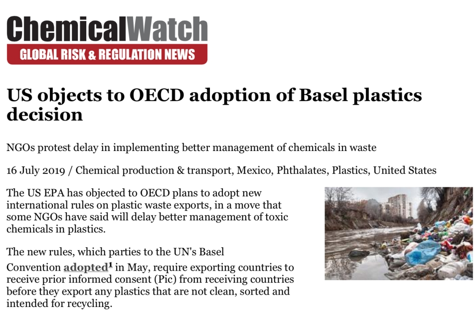 US objects to OECD adoption of Basel plastics decision      Chemical Watch   July 16, 2019