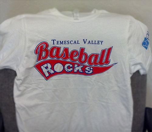 Temescal Valley Baseball Rocks t-shirt.