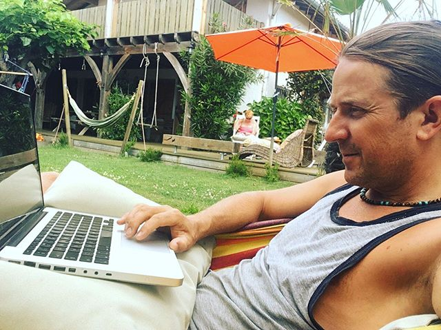 It's not all yoga classes and preparing amazing food and smoothies. There's some retreat planning to do too - here's James 'working from the hammock' revamping the annual summer Beach Yoga Retreat - join the list to get the email later this evening - link in bio.  #yoga #yogaretreat #beachyoga #franceyogaretreat #yogaescape #yogaholiday #hammock #workfromhome