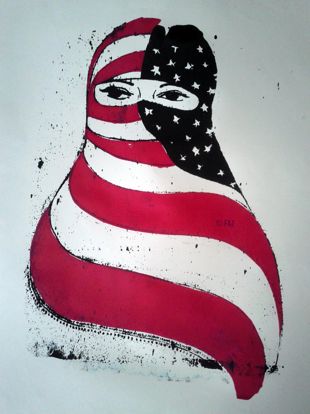 American Hijab, 2012, Serigraph, Angela Faz