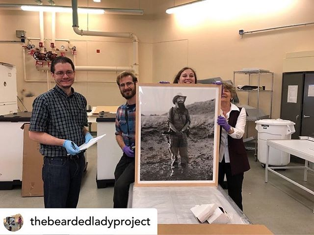 News from: @thebeardedladyproject! The Bearded Ladies have arrived! The official unpacking has begun at the Smithsonian's National Museum of Natural History! The portraits will be on display and available to the public from November-June! We have a great team working with the portraits. Portraits by Kelsey Vance. 📷: Siobhan Starr's