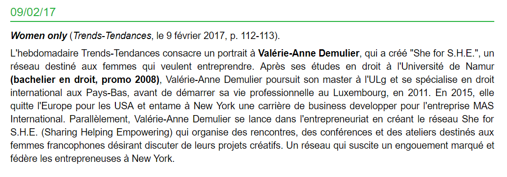 UNamur Alumni - Revue de Presse des Anciens - 02/09/2017