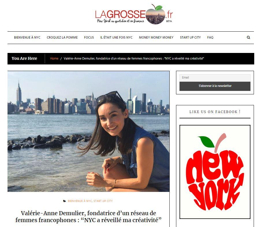 """La Grosse Pomme - """"Valérie-Anne Demulier, fondatrice d'un réseau de femmes francophones : """"NYC a réveillé ma créativité""""""""Press Article 02/19/2019"""