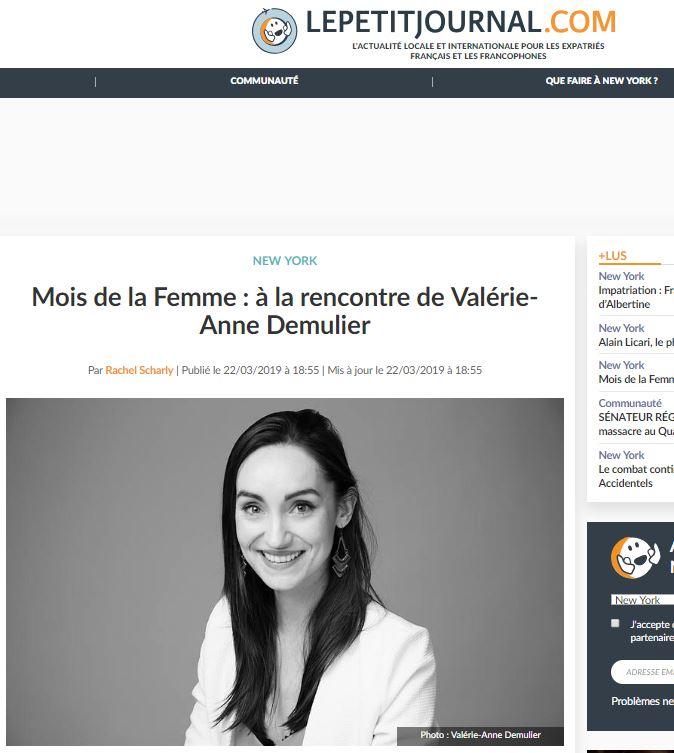 """Le Petit Journal - """"Mois de la Femme : à la rencontre de Valérie-Anne Demulier""""Press Article 03/22/2019"""