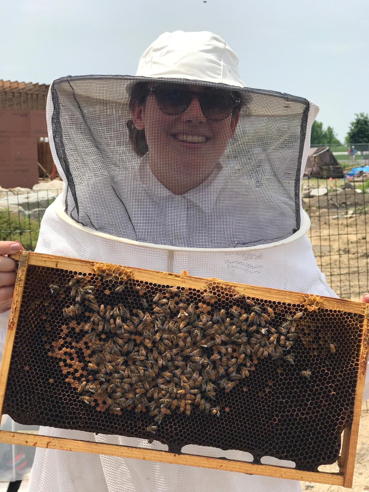 Emilie, dans le cadre d'une inspection de ruche