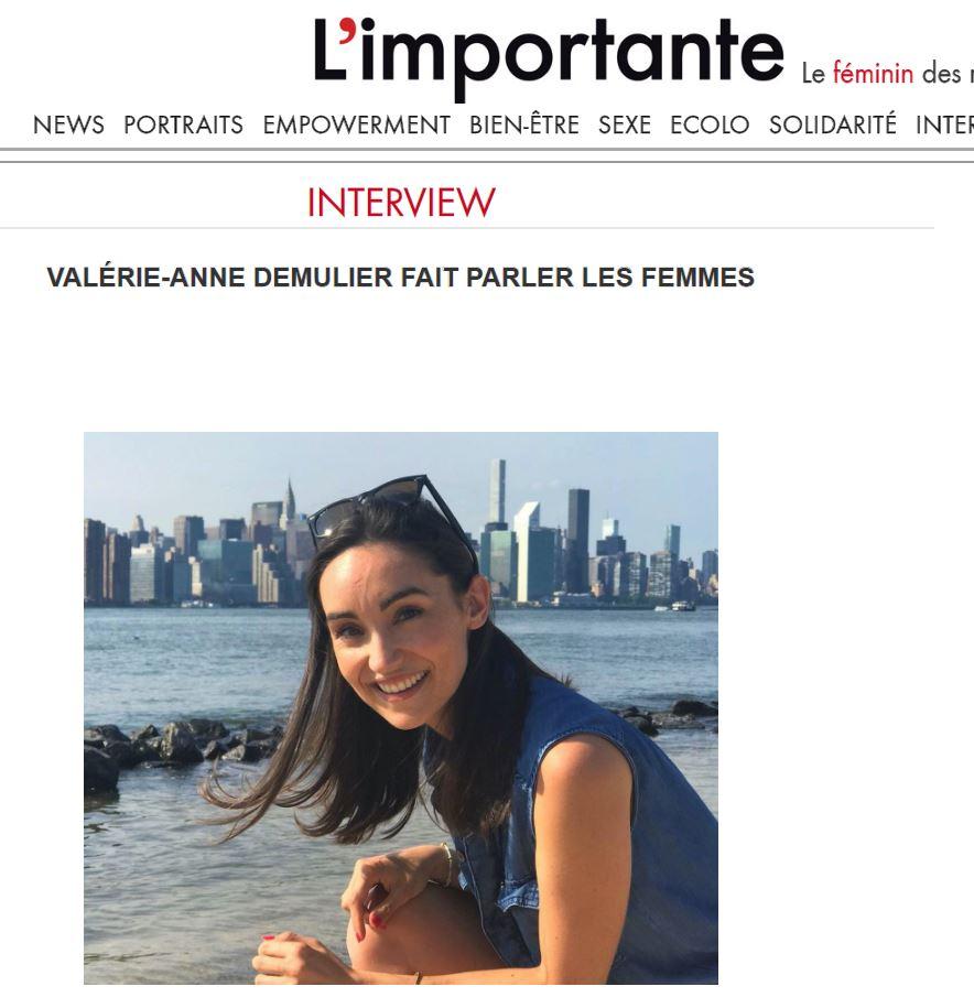 """L'Importante - """"Valérie-Anne Demulier fait parler les femmes""""Press Article 07/08/2019"""