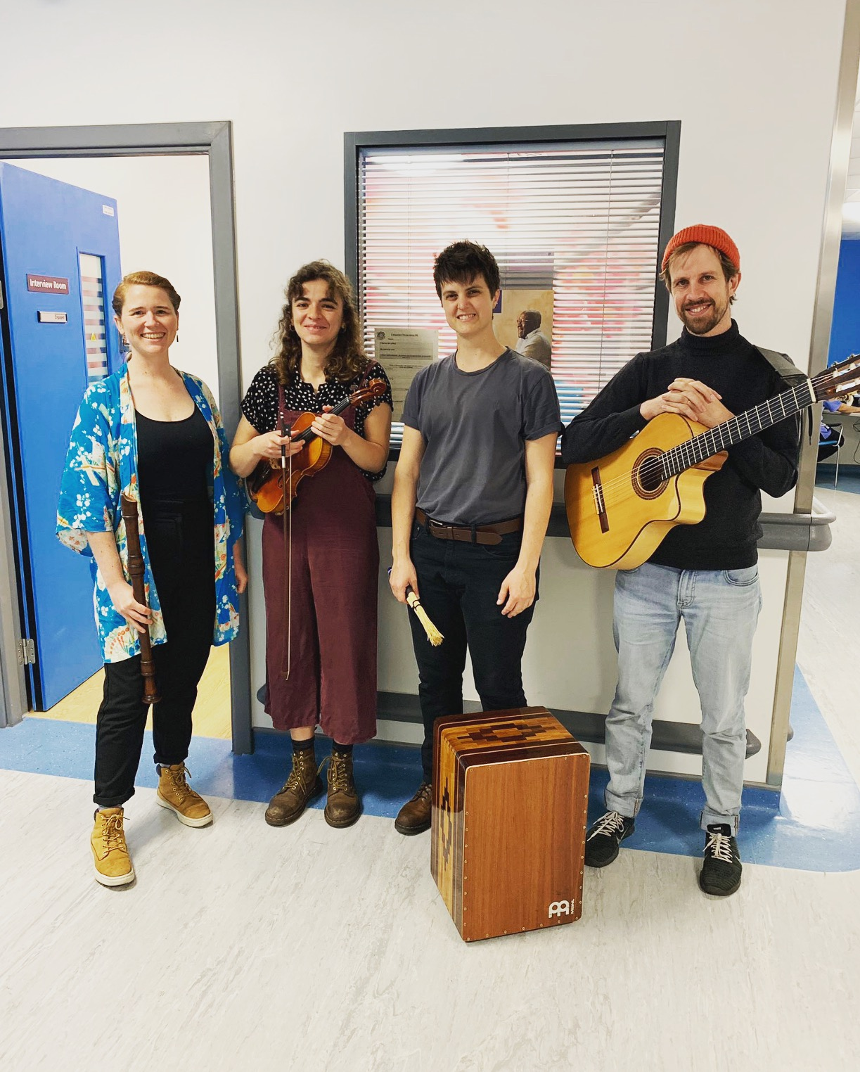 (from left to right)  Rhia Parker, Beatriz Rola, Kendall Perry and Jamie Doe, playing in Dementia Awareness Week at the Royal Free Hospital in London, U.K.