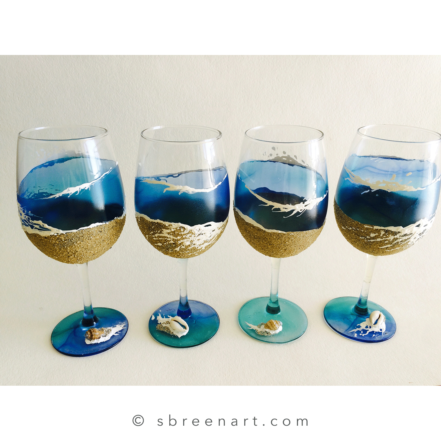 Hand-painted wine glass set