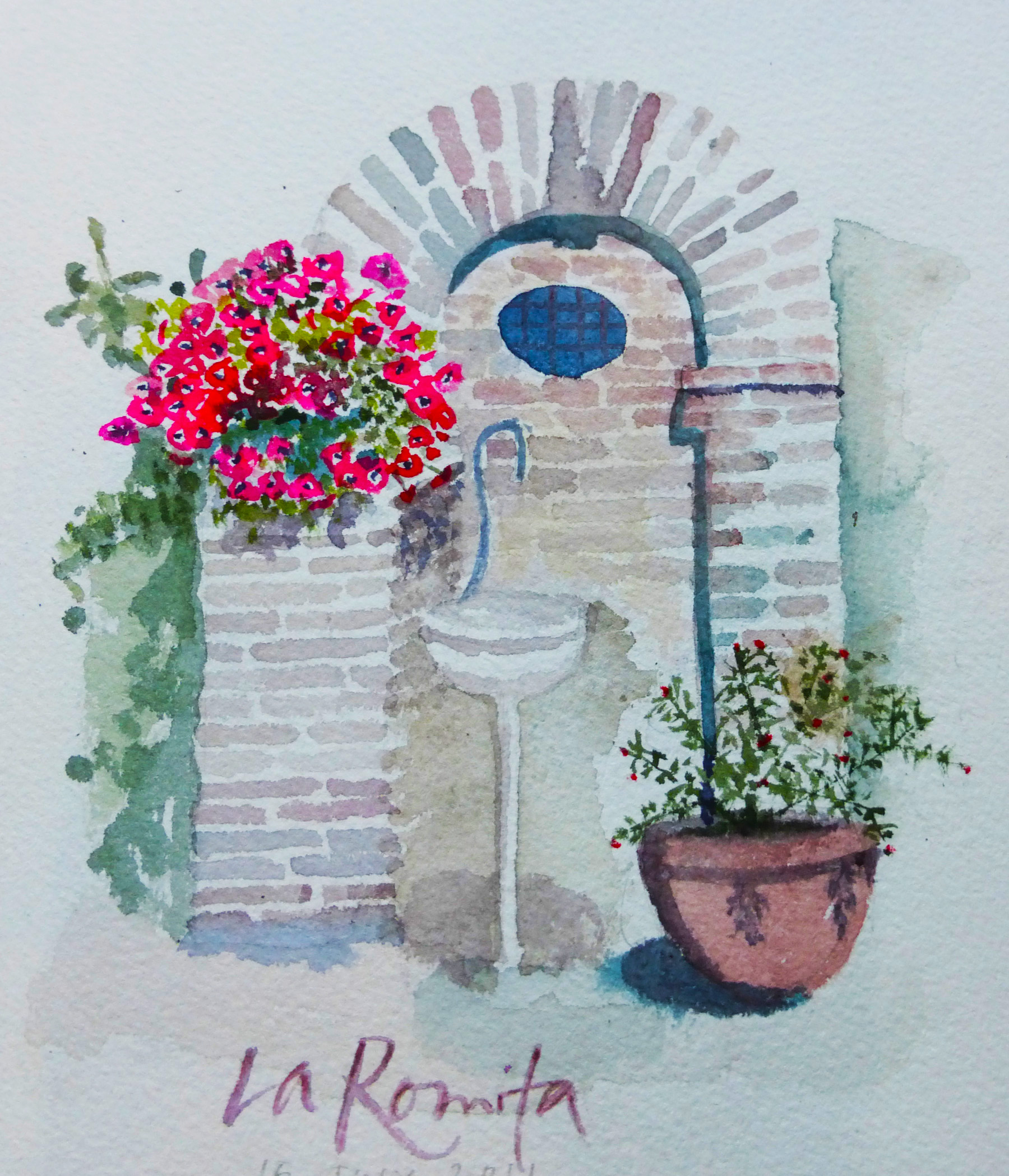 The courtyard at La Romita School of Art, Italy