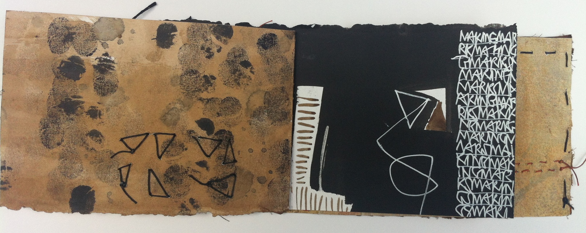Mark Making with thread, fingers and ink
