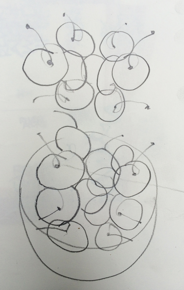 One pencil in each hand, blind contour