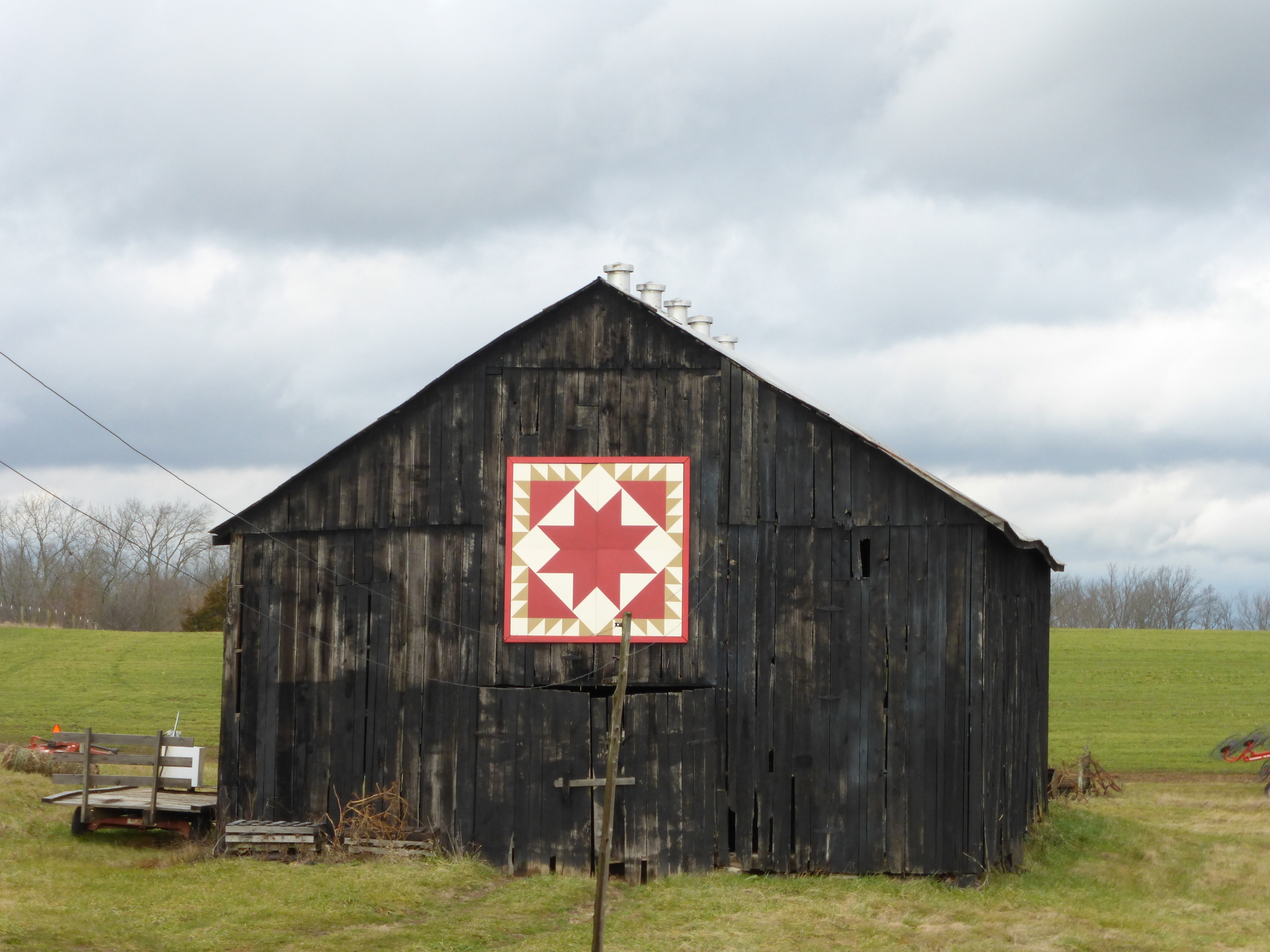 """Barn with """"hex"""" pattern"""