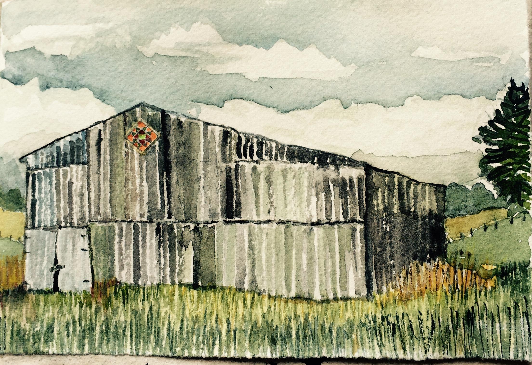 """""""Hex"""" sign barn, L Doctor sketchbook"""