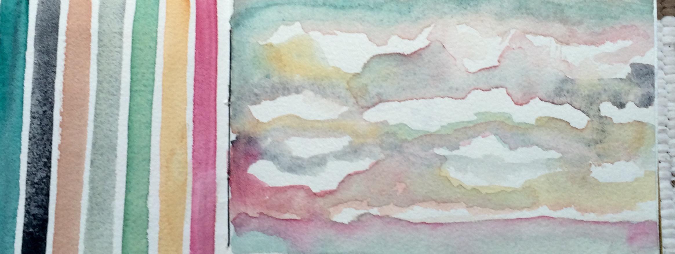 Making lines to create sky, L Doctor Sketchbook