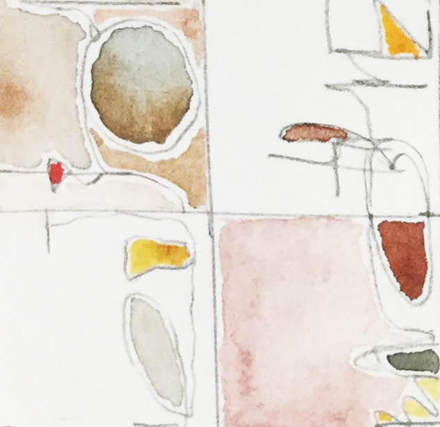 Exercise in enlargement of continuous handwriting for small abstract paintings, Marilyn Fischer