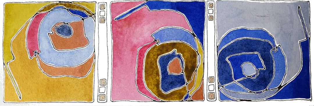 Student work: Series of abstract paintings, repetition of a mark, by  Jessica Singleton