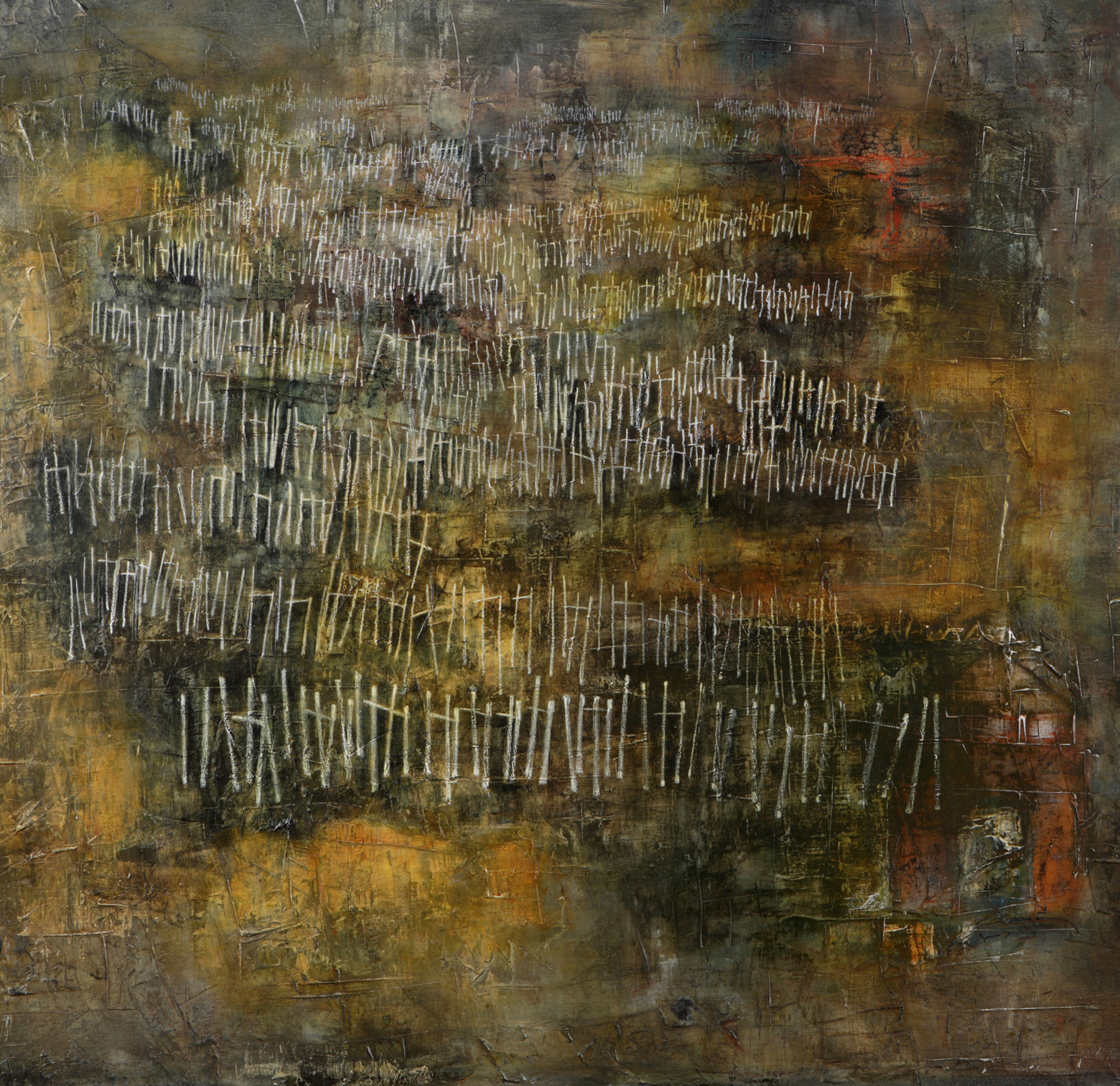 I found myself in a dark wood  (Dante)  Mixed media,writing with closed eyes on large canvas     –  L Doctor