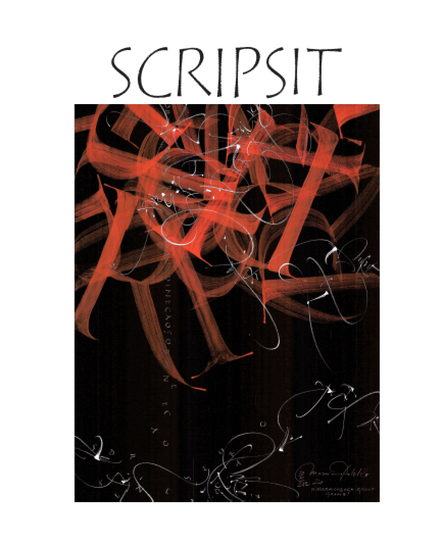 Cover for  Scripsit  – just out this month an entire issue on brush lettering.  Image by Massimo Polello: