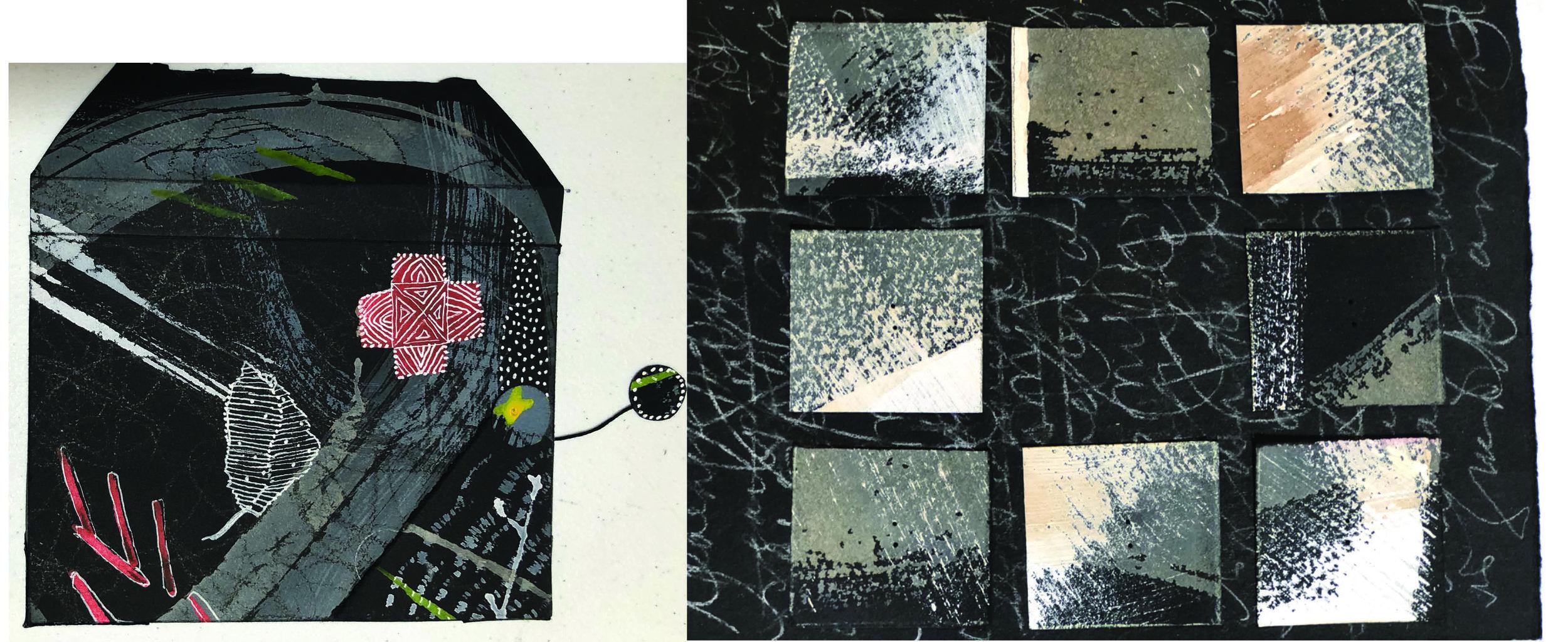 Book case by Happy Price (left)                  Work in progress by Deb Jones (right)
