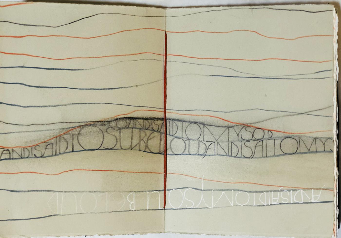 """Book page, """"line practice""""                                           –Deb Jones"""