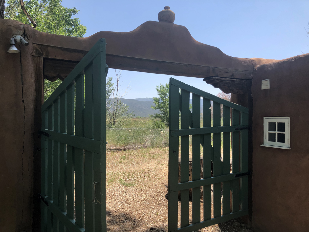 The gate by the kitchen at Mabel Dodge Luhan Retreat