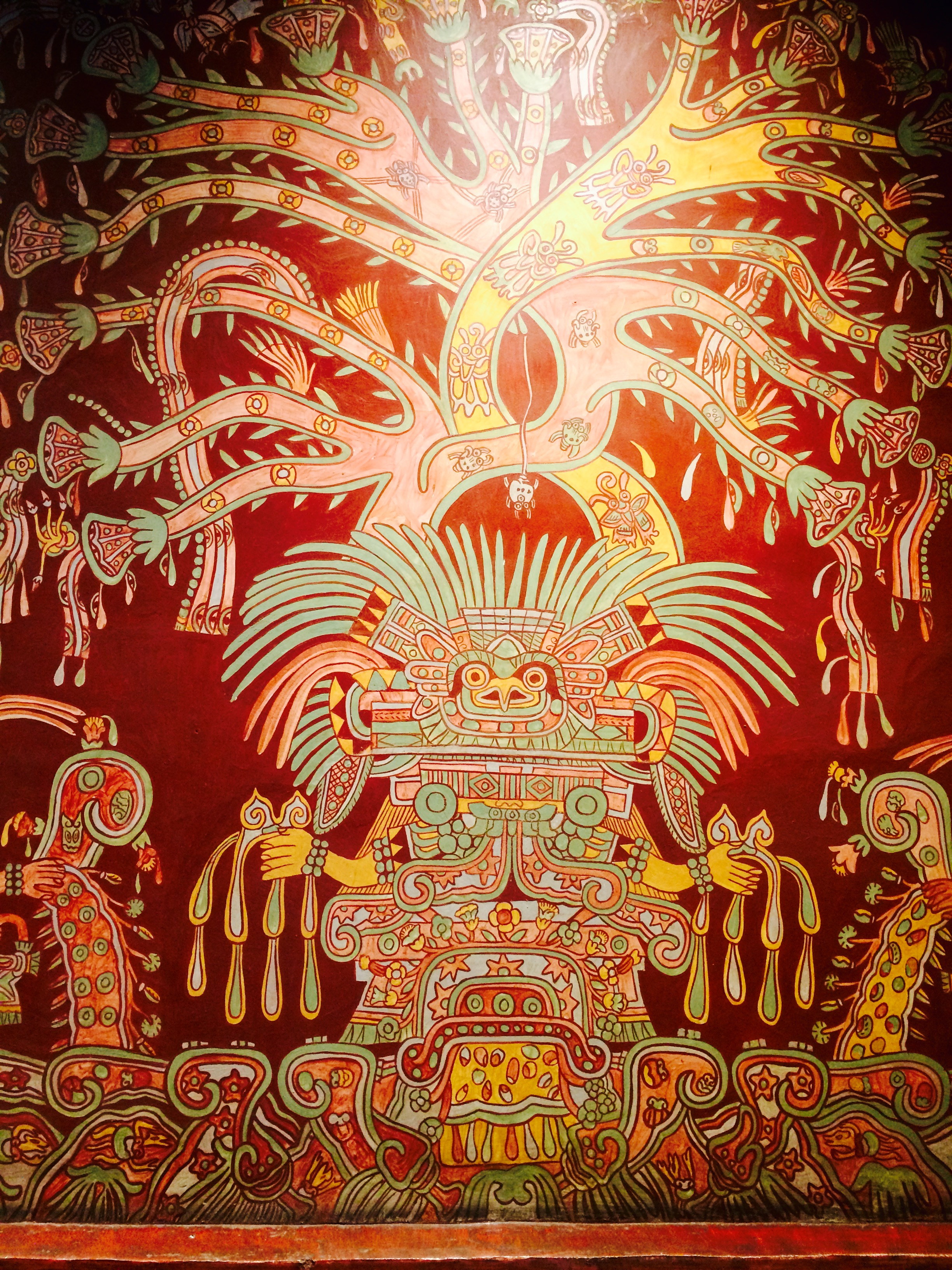 This mural from National Museum of Anthropology of the feathered serpent is a great example of what the pyramids used to look like when freshly painted.