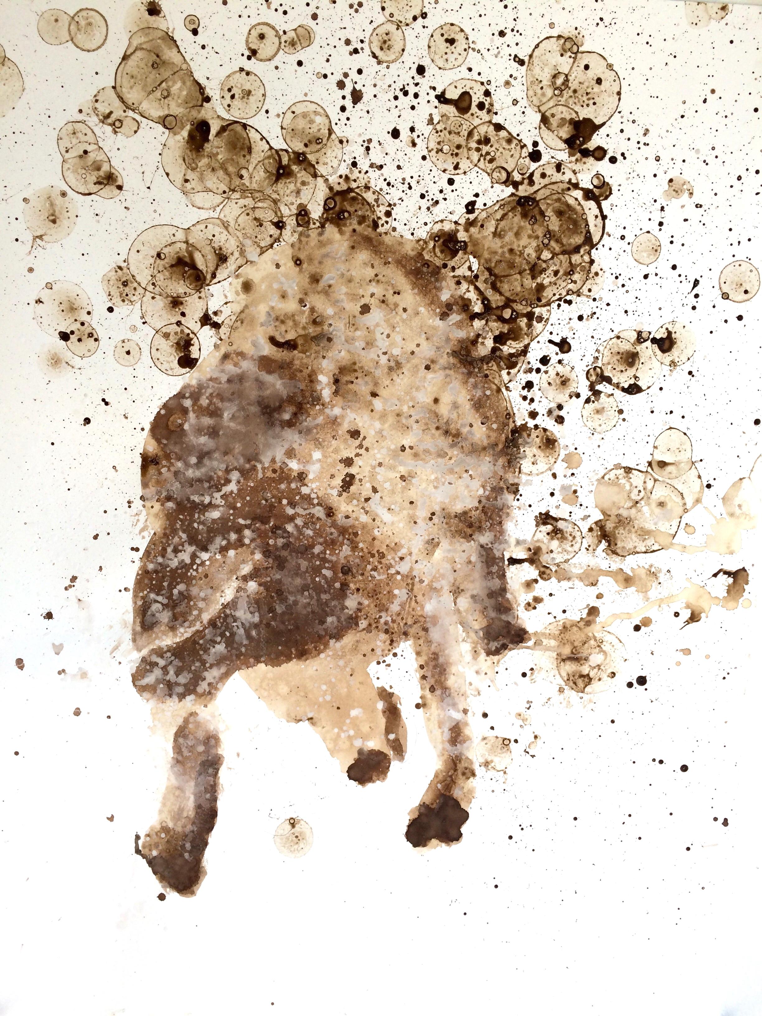 "Shake Shake Shake - golden I  30"" X 22""   walnut oil, and coffee on Stonehenge"