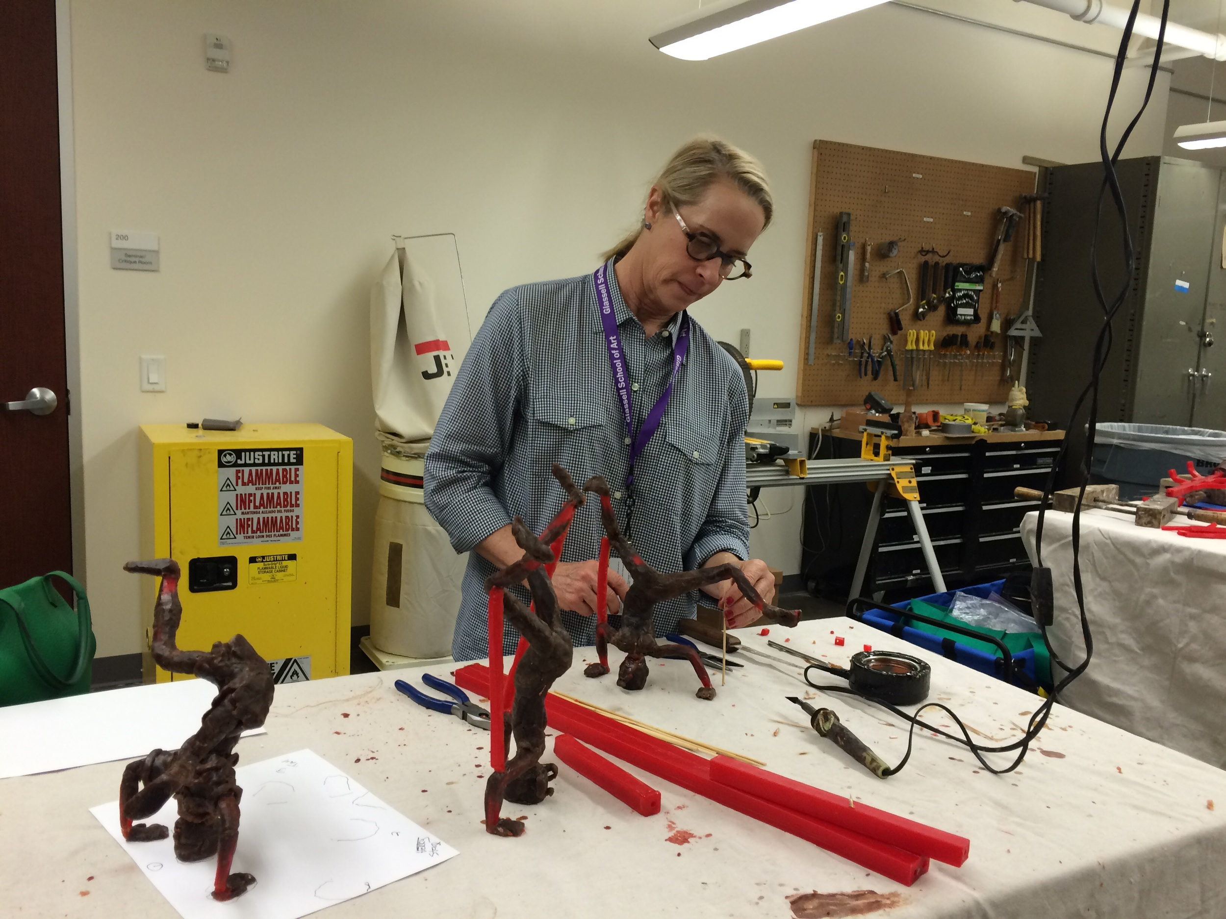 Me reinforcing the armature at the new temporary foundry/sculpture studio at Glassell. I love this place and the people.