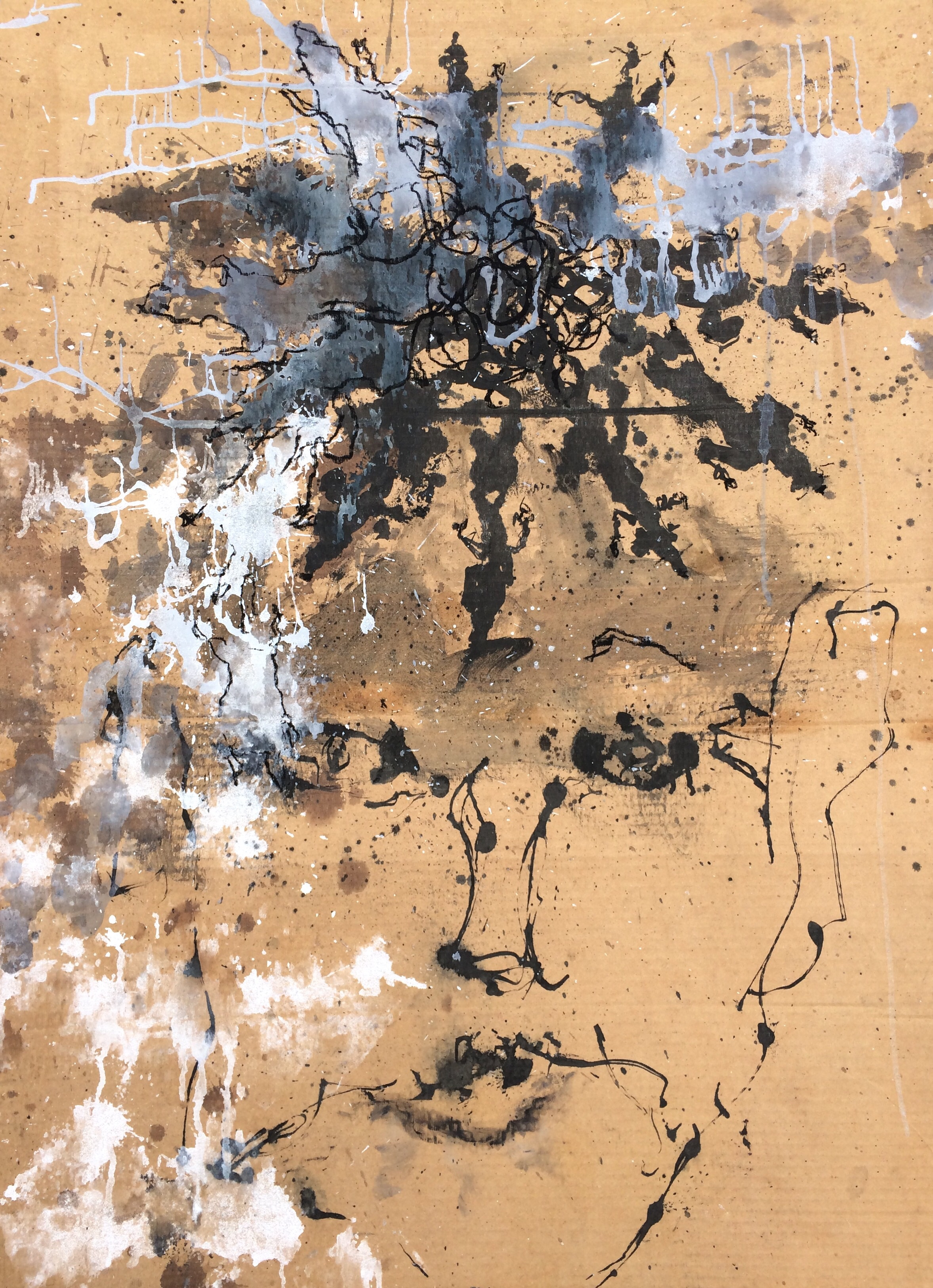 """Rattenkonig   Found object 31"""" X 44""""  ink, and charcoal"""
