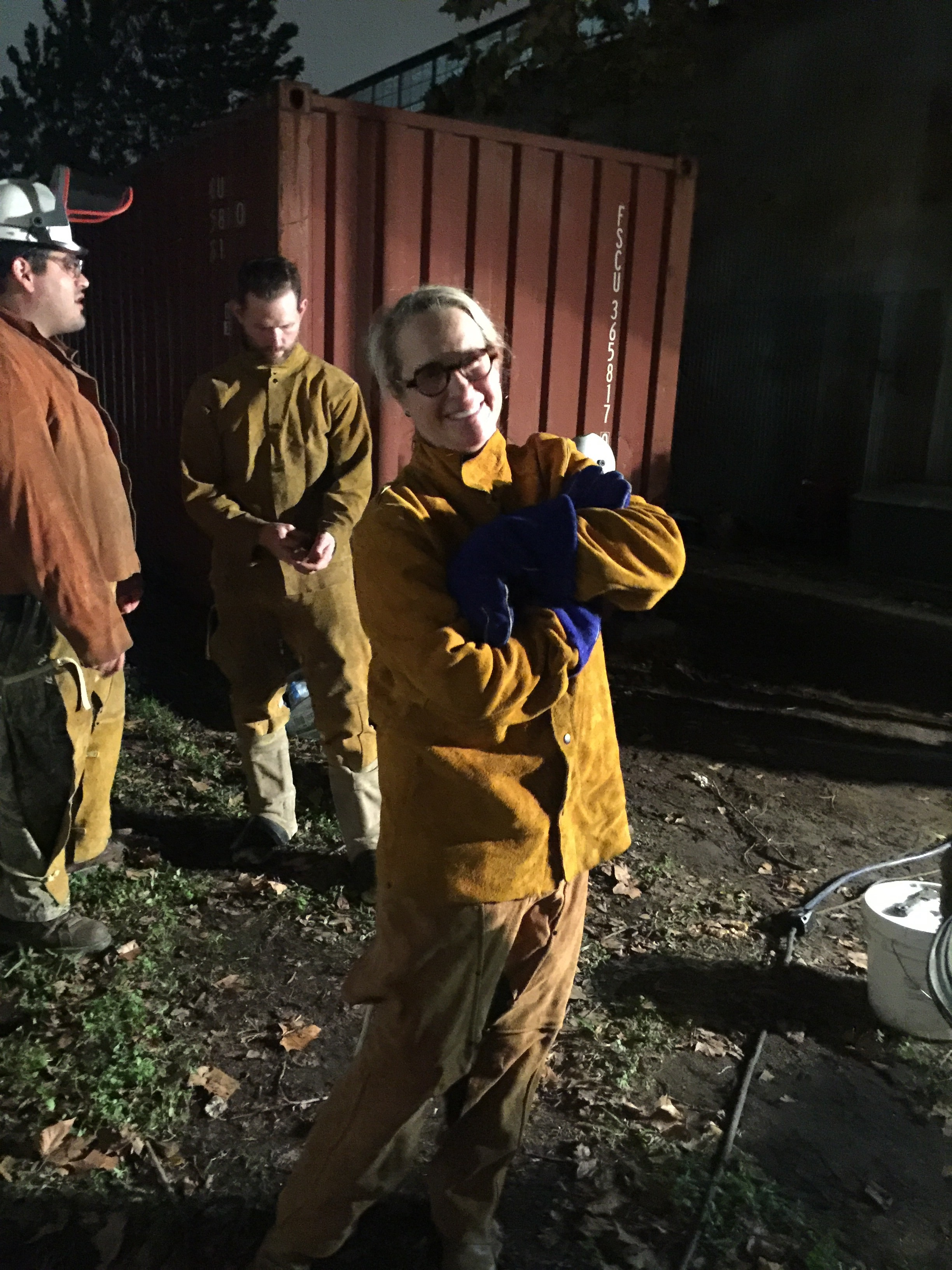 I am in all leather protective clothing. I wear two sets of welding gloves to keep from burning my hands when I hold the shells upright.