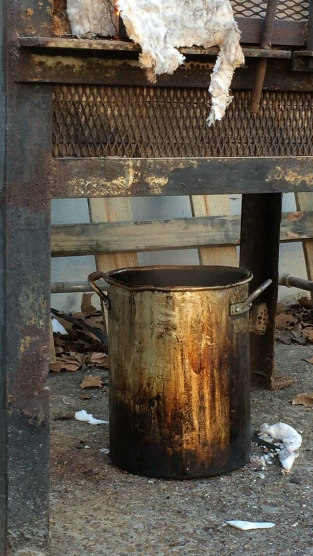 Wax melts into bucket