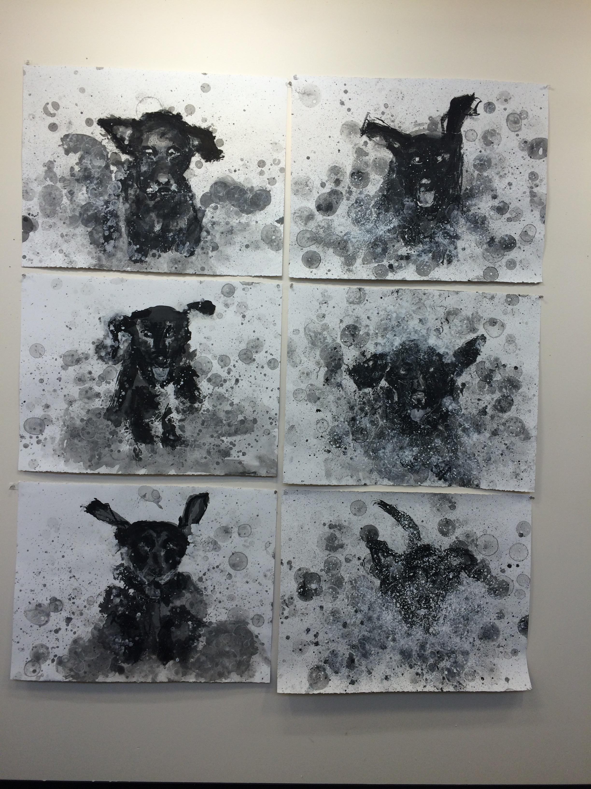 "shake shake shake - fetch drawings I - VI  ink, and charcoal on Stonehenge.  30"" X 22"""