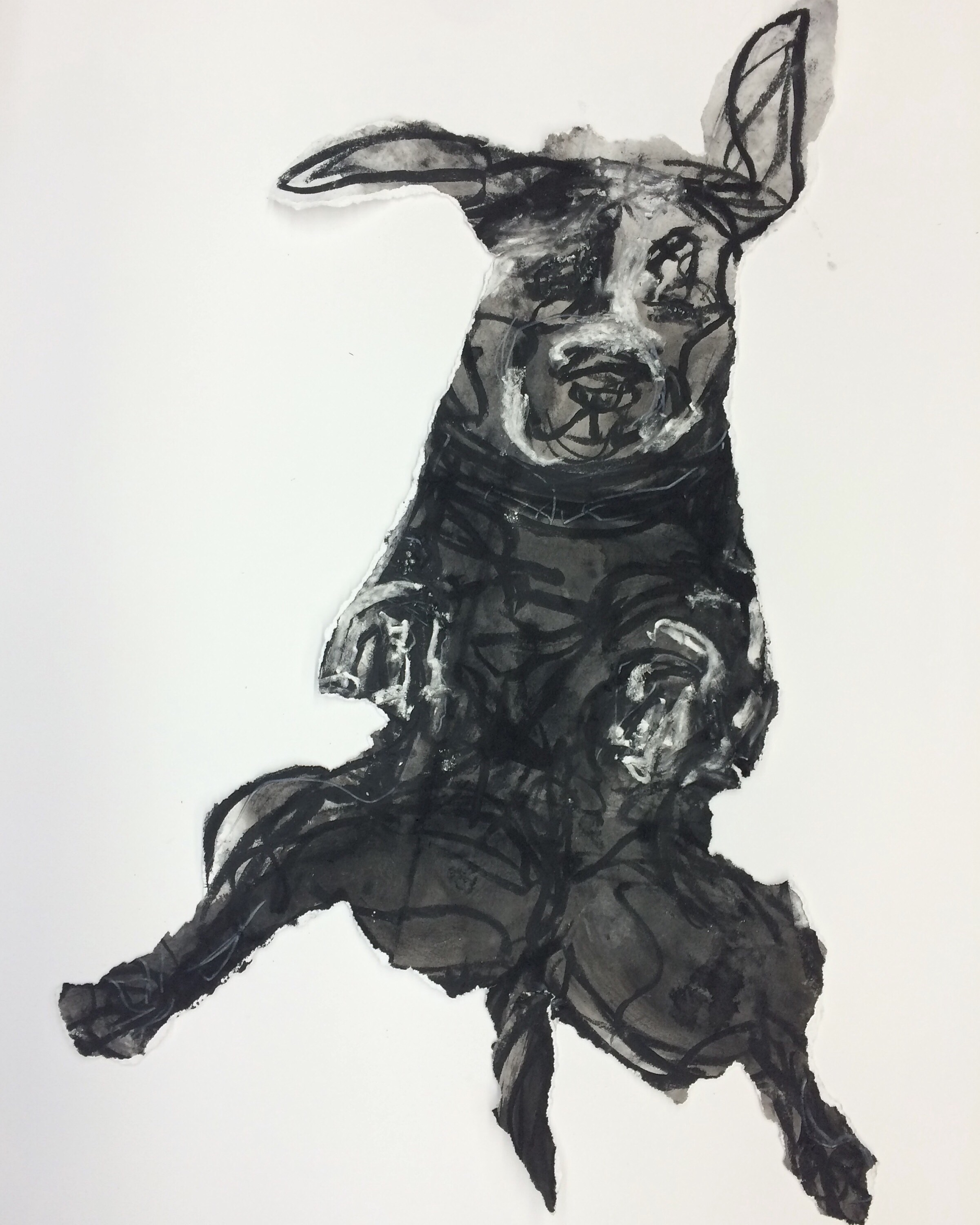 """""""Jump""""   30"""" X 22"""" ink and charcoal on Stonehenge."""